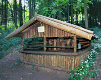 Log cabin at Rocks East Woodland